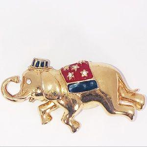 Monet Rhinestone Elephant Gold Tone Pin /Brooch